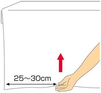 シーツの三角折り1