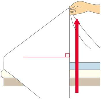 シーツの三角折り2